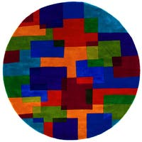 Momeni New Wave Multicolor Hand-Tufted and Hand-Carved Wool Rug (7'9 X 7'9 Round) - multi