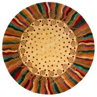 Momeni New Wave Beige Hand-Tufted and Hand-Carved Wool Rug - 5'9 Round