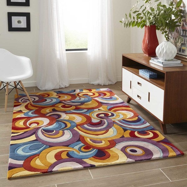 "Momeni New Wave Multicolor Hand-Tufted and Hand-Carved Wool Rug (5'9 X 5'9 Round) - Multi - 5'9"" x 5'9"" Round"