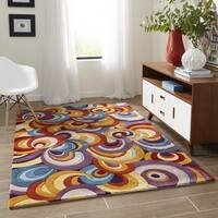 Momeni New Wave Multicolor Hand-Tufted and Hand-Carved Wool Rug (5'9 X 5'9 Round) - multi