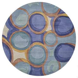 Momeni New Wave Blue Hand-Tufted and Hand-Carved Wool Rug (5'9 X 5'9 Round)
