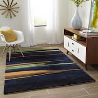 Momeni New Wave Navy Hand-Tufted and Hand-Carved Wool Rug (5'9 X 5'9 Round)