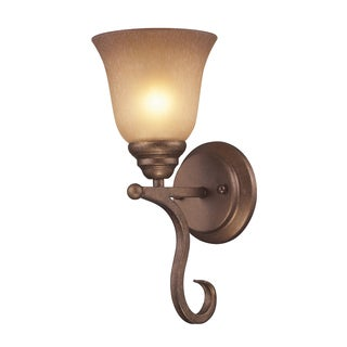 Lawrenceville Collection 1-Light Wall Bracket In Mocha And Antique Amber Glass