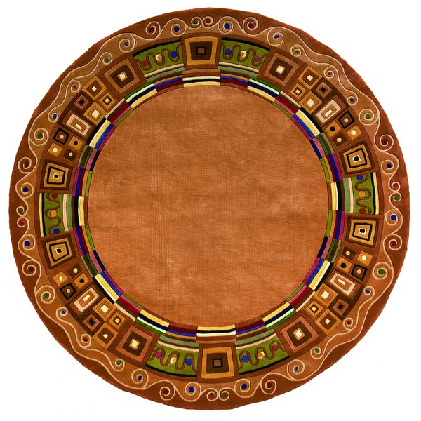 "Momeni New Wave Gold Hand-Tufted and Hand-Carved Wool Rug (5'9 X 5'9 Round) - 5'9"" x 5'9"" Round"