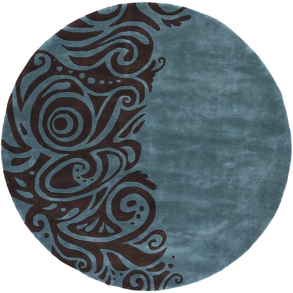 Momeni New Wave Turquoise Hand-Tufted and Hand-Carved Wool Rug (5'9 X 5'9 Round)
