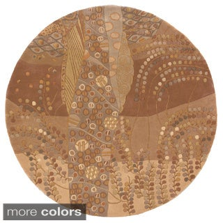 Momeni New Wave Beige Hand-Tufted and Hand-Carved Wool Rug (5'9 X 5'9 Round)