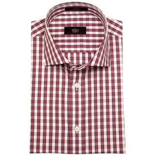 Alara Men's Red Gingham Cotton Poplin Dress Shirt