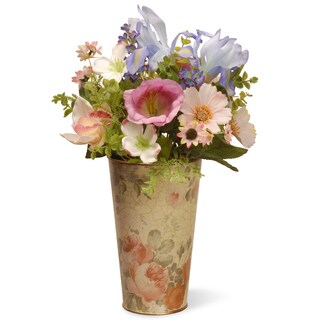 17-inch Assorted Colors Flower in Tin Pot