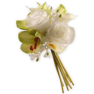 10-inch White and Pink Rose and Callalily Boquet