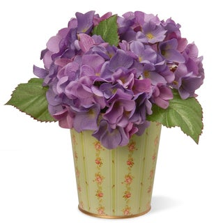 11-inch Purple Flower in Tin Pot