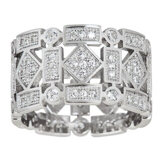 Decadence Sterling Silver Fancy Cubic Zirconia Geometric Shapes Eternity Ring