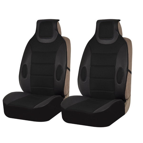 FH Group Black Leatherette Seat Cushion Pads Set Of 2