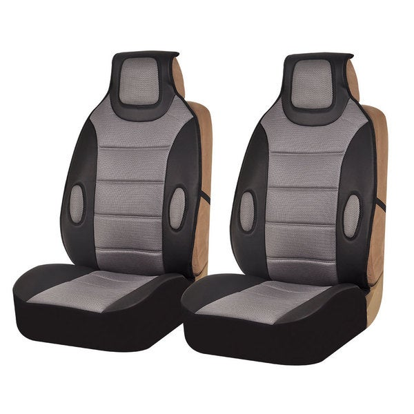 FH Group Grey Leatherette Seat Cushion Pads Set Of 2