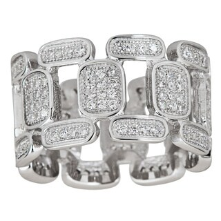Decadence Sterling Silver Fancy Cubic Zirconia Rounded Square and Rectangle Micropave Eternity Ring