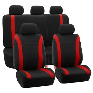 FH Group Red Black Cosmopolitan Flat Cloth Auto Seat Covers (Full Set)