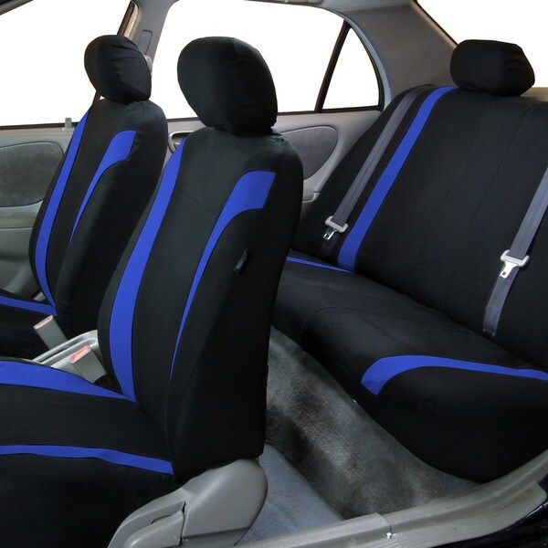 Fabulous Fh Group Blue Black Cosmopolitan Flat Cloth Auto Seat Covers Full Set Pdpeps Interior Chair Design Pdpepsorg