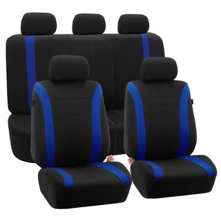 FH Group Blue Black Cosmopolitan Flat Cloth Auto Seat Covers (Full Set)