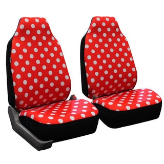 FH Group Red Polka Dots Front Bucket Seat Covers (Set of 2)