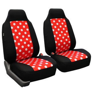 FH Group Red and Black Polka Dots Front Bucket Seat Covers (Set of 2)