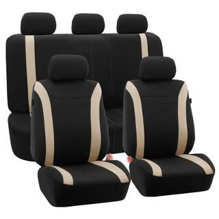 FH Group Beige Black Cosmopolitan Flat Cloth Auto Seat Covers (Full Set)