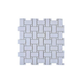 White Stone Weave Mesh Mounted Wall Tile (Pack of 11)
