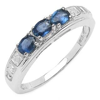 Malaika Sterling Silver Blue Sapphire .75ct TGW/ Diamond Accent Ring
