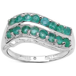 Olivia Leone Sterling Silver 1 1/10 TGW Emerald Ring