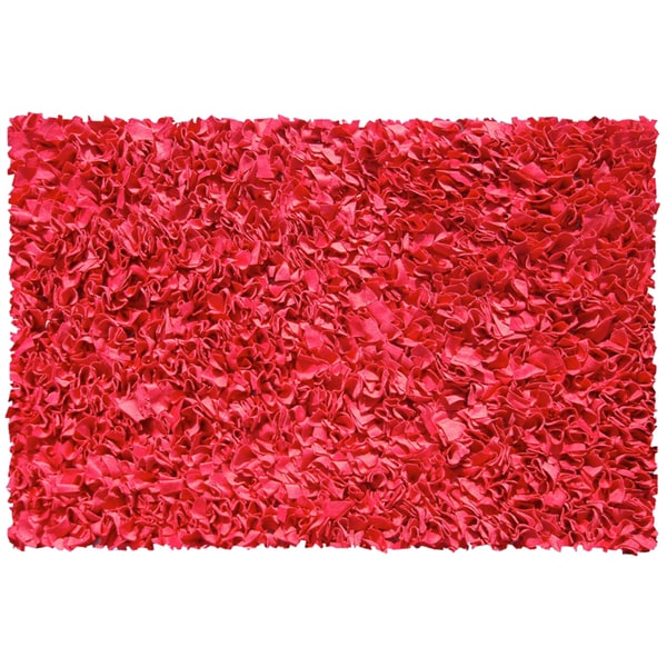 Red Cotton Jersey Shag Rug - 4'7 X 7'7