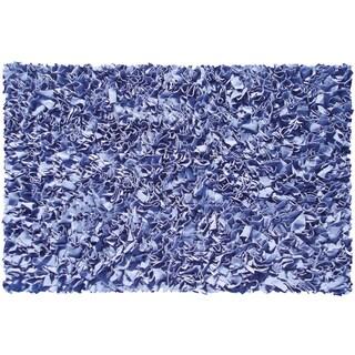 Dark Blue Cotton Jersey Shag Rug (4'7 x 7'7)