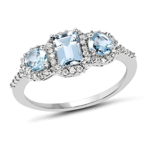 Olivia Leone 10k White Gold 9/10ct TGW Aquamarine/ Diamond Accent 1/5ct TDW Ring - Blue