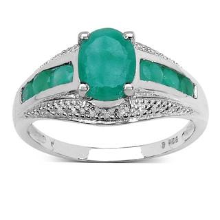 Malaika Sterling Silver 1 7/10 TGW Emerald Ring