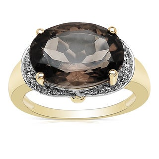 Malaika 14K Yellow Gold Plated 5.24 Carat Genuine Smoky Quartz & White Topaz Brass Ring