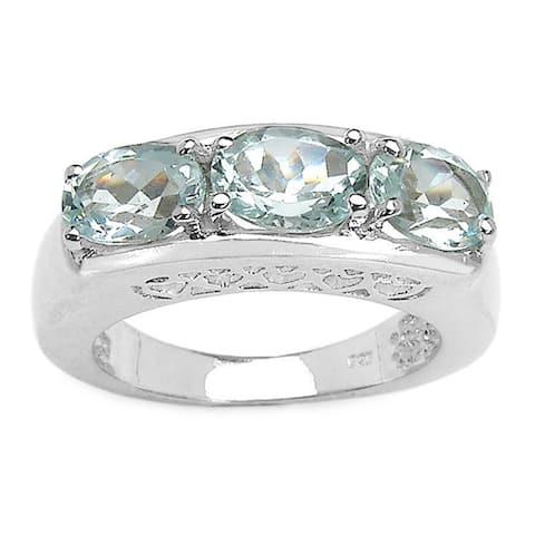 Malaika 2.20ct Genuine Aquamarine Sterling Silver Ring