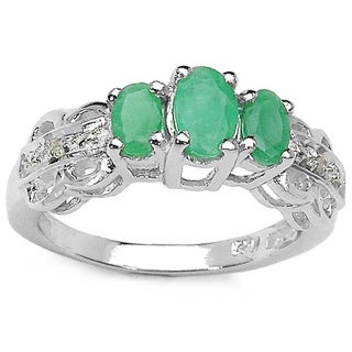 Malaika Sterling Silver 1 Carat Genuine Emerald Diamond Accent Ring