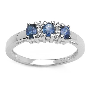 Malaika 0.67 Carat Genuine Blue Sapphire and White Diamond .925 Sterling Silver Ring
