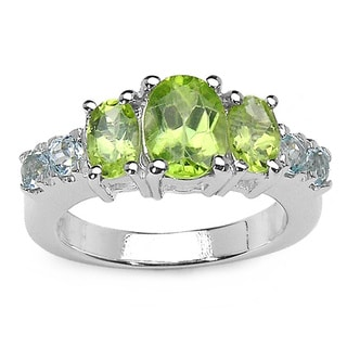 Malaika 2.58 Carat Genuine Peridot and Blue Topaz .925 Sterling Silver Ring