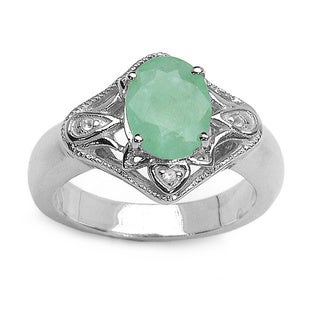 Malaika 1.84 Carat Emerald and White Topaz .925 Sterling Silver Ring - Green