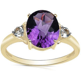 Malaika 2.66 Carat Genuine Amethyst and White Topaz 10K Yellow Gold Ring