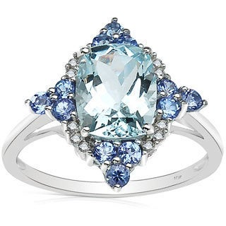 Malaika 2.25 Carat Genuine Aquamarine, Tanzanite & White Diamond 10K White Gold Ring
