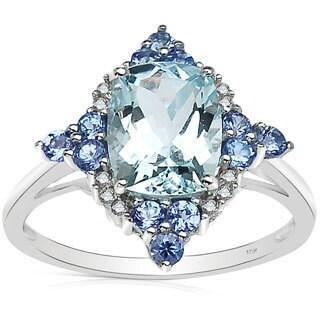 Malaika 2.25 Carat Genuine Aquamarine, Tanzanite & White Diamond 10K White Gold Ring