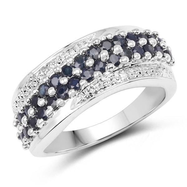 Malaika 1.36 Carat Genuine Blue Sapphire and White Diamond .925 Sterling Silver Ring