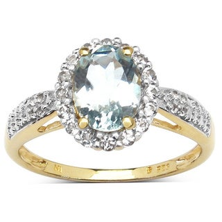 Olivia Leone 1.46 Carat Aquamarine and White Diamond 10K Yellow Gold Ring