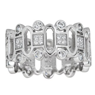 Decadence Sterling Silver Micropave Cubic Zirconia Fancy Loop Ring