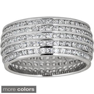 Decadence Sterling Silver 5-row Mircopave Cubic Zirconia Ring