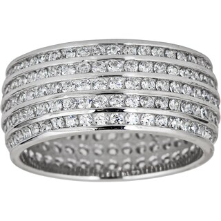 Decadence Sterling Silver 5-row Mircopave Cubic Zirconia Ring (More options available)
