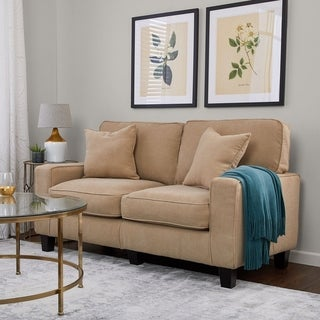 Serta RTA Martinique Collection 61 Inch Navarre Beige Fabric Loveseat Sofa Part 57
