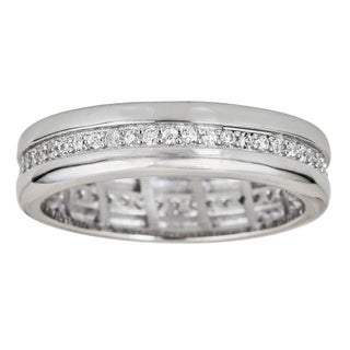 Decadence Sterling Silver Channel Setting Micropave Eternity Ringwith Cubic Zirconia