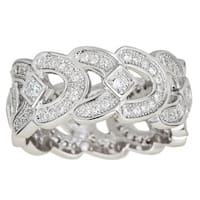 Decadence Sterling Silver Micropave Cubic Zirconia Fancy Ring