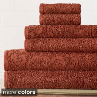 Amraupur Overseas 6-Piece Jacquard Damask Towel Set (Option: White)