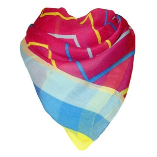 Yellow and Blue Chevron Pattern Sheer Scarf